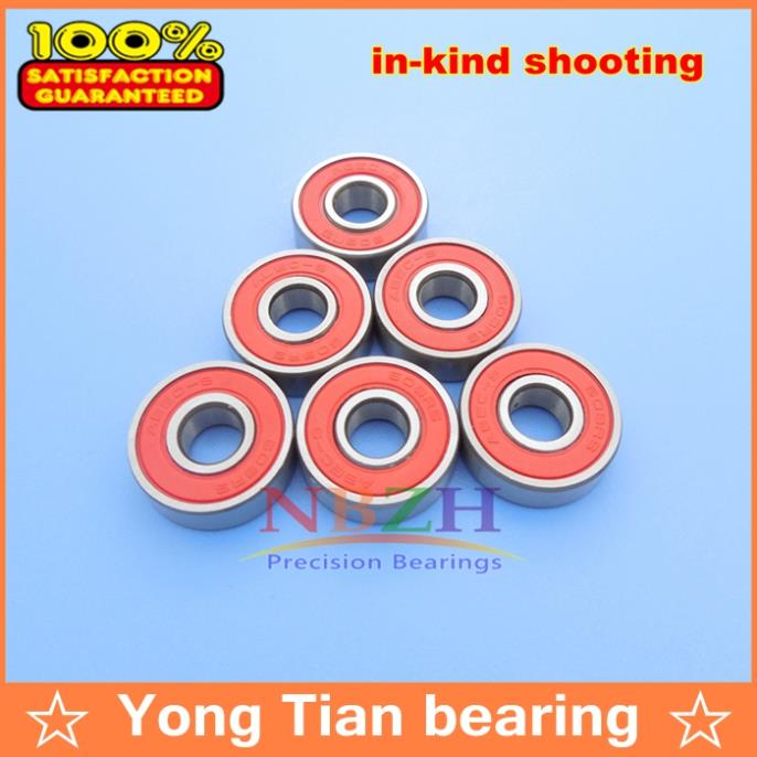 Free shippingBall bearings <font><b>608</b></font>-<font><b>2RS</b></font> 8X22X7 mm 608RS <font><b>ABEC</b></font>-<font><b>9</b></font> 10pcs Red plastic cover image