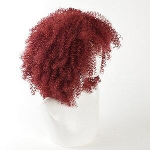 Image 2 - MSIWIGS สีแดงสังเคราะห์ Wigs ผู้หญิงอเมริกันแอฟริกันขนาดกลาง Afro วิกผมคอสเพลย์ทนความร้อน