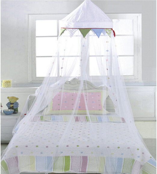 Crown Mosquito With Decorated Dot Net White Canopy Single
