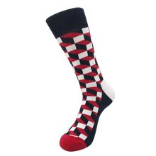 Men Cotton Crew Square Plaid Lattice and Polka Dot Versatile Socks Patchwork Color Four Seasons Sweat