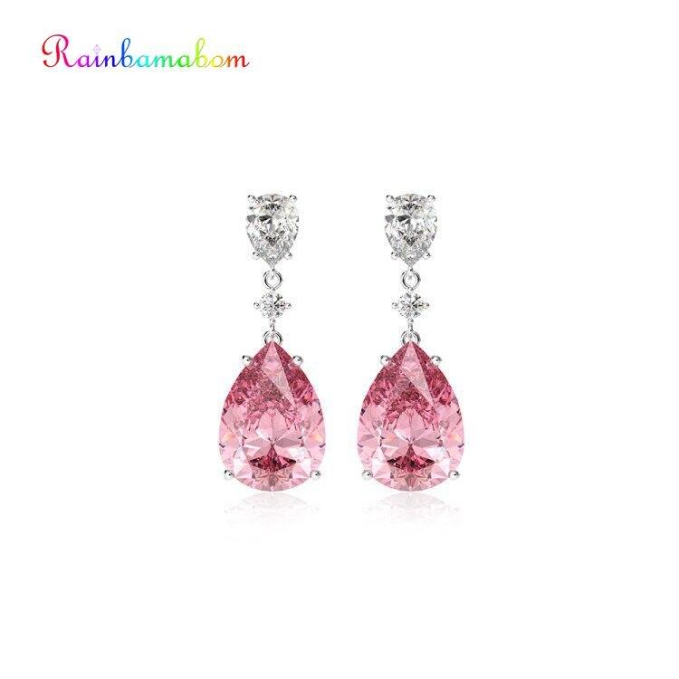 Rainbamabom Romantic 925 Sterling Silver Pear Water Drop Sapphire Gemstone Drop Dangle Diamonds Earrings Fine Jewelry Wholesale
