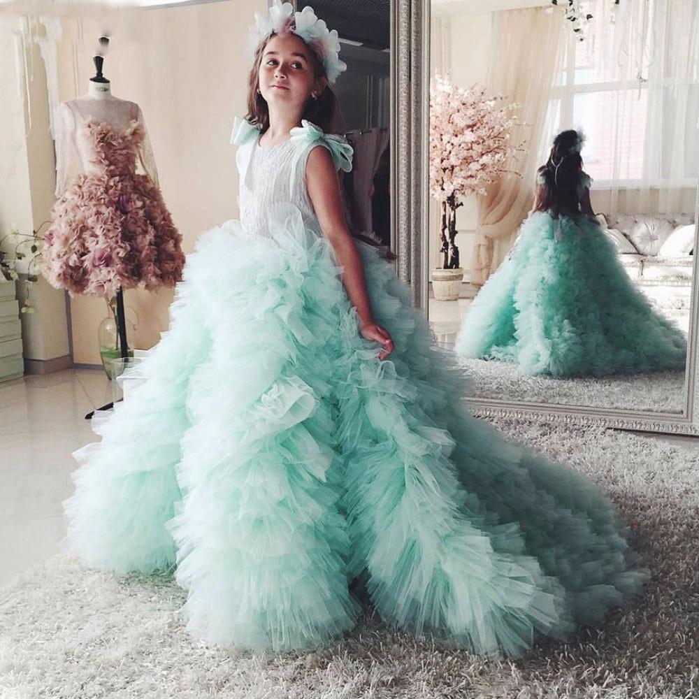 2018 Mint Tulle Flower Girl Dress Ruffles Court Train Kids Wedding Party Gowns Robe De Soiree Lovey Elegant Princess Dress 2 12