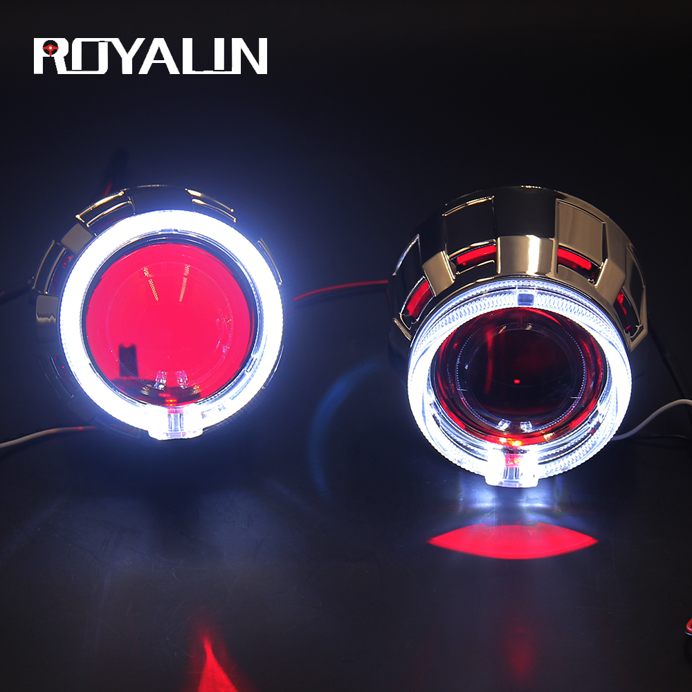ROYALIN Headlight Lenses Projector H1 Bixenon Hi/Low Beam LED Angel Eyes Shrouds Devil Eyes For H1 H4 H7 Car Head Lamp Retrofit