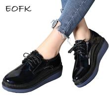 EOFK Spring Autumn Women Patent Leather Flat Platform Shoes Lace Up Shoes Woman Flats Women's Casual Shoes