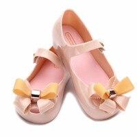 Melissa Meisjes Jelly Sandalen Nieuwe kids sandalen jelly schoenen Satijn boog PVC zachte zool kinderen sandalen Regen schoenen 13-18 CM