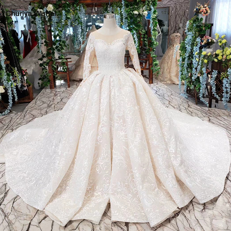HTL276G ball gown lace wedding dresses with long sleeve handmade appliques button princess robe mariage femme 2019