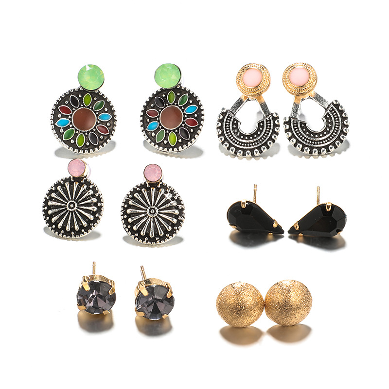 New Fashion 6pcs set Bohemian Ladies Earrings Set Austria Crystal Cubic Zirconia Small Stud Earrings Jewelry Gifts For Women in Stud Earrings from Jewelry Accessories