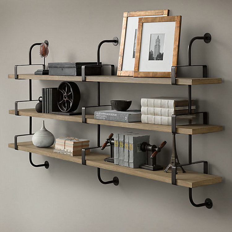 Wood And Metal Wall Shelves online shop loft retro style wood wall mount shelf bookcase