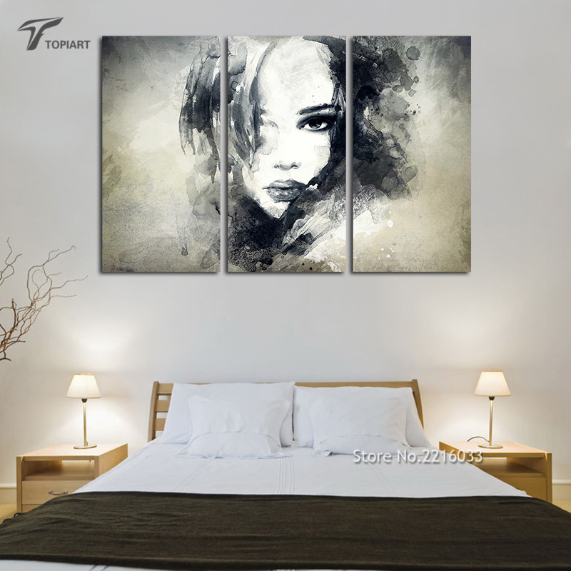 Wall Decor Canvas Painting Watercolor Black And White Art Woman Face Abstract Print Set Bedroom Decoration