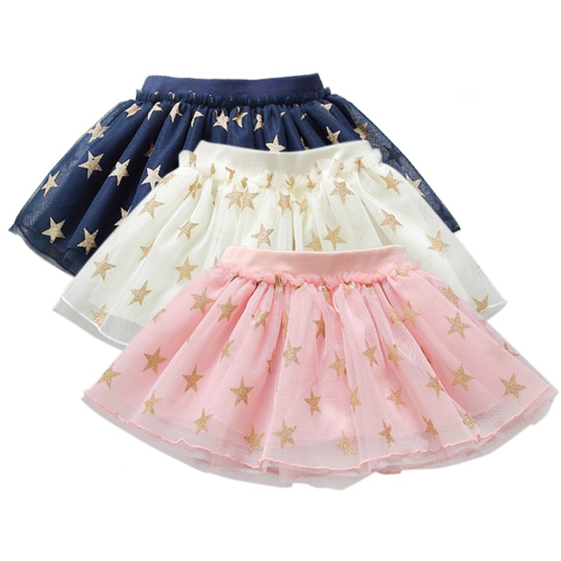 все цены на Baby Girls Summer Tutu Skirts Star Print Mesh Princess Girls Ballet Dancing Skirt Cotton Clothing 3 Colors Hot