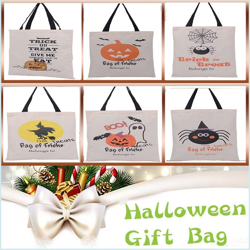 100 pcs/lot Halloween Gift Bag 6 Types Large Sacks Canvas ...