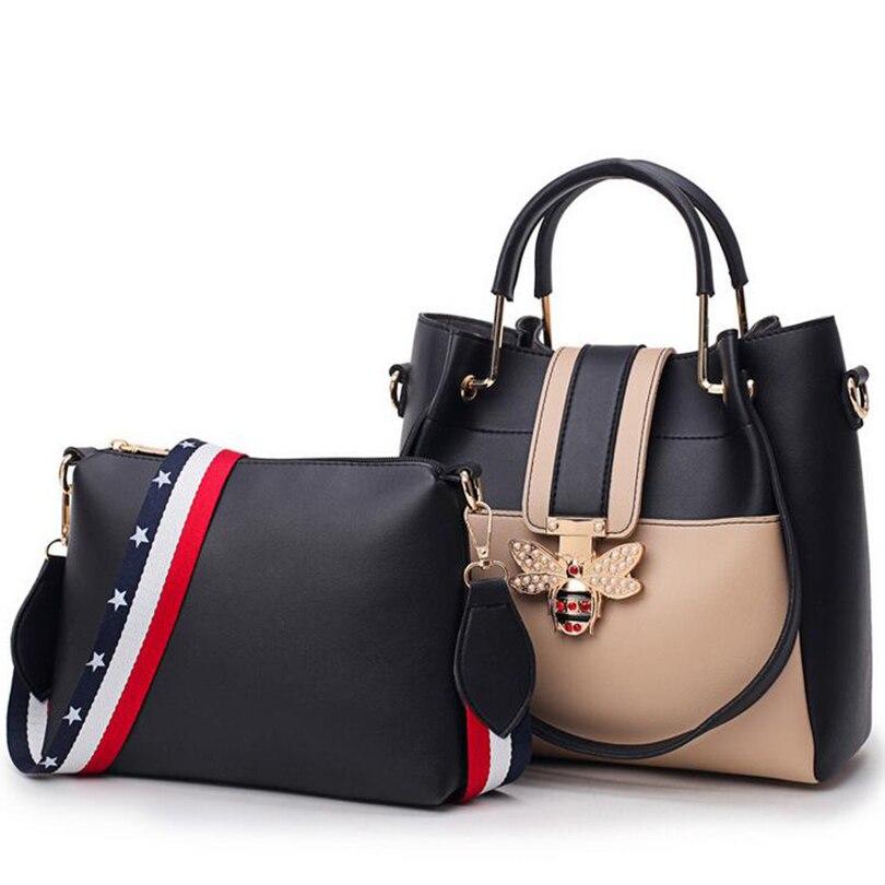 2018 New Fashion Composite Bag Female Shoulder Bag Pu Leather Women handbag Bee Design Luxury Top-Handle Bags For Women SGT02 2