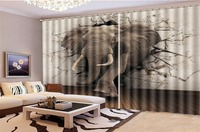 Wholesale 3d Curtain Elephant Coming Out Of The Wall Decoration Indoor Living Room Bedroom Kitchen Window Blackout Curtain