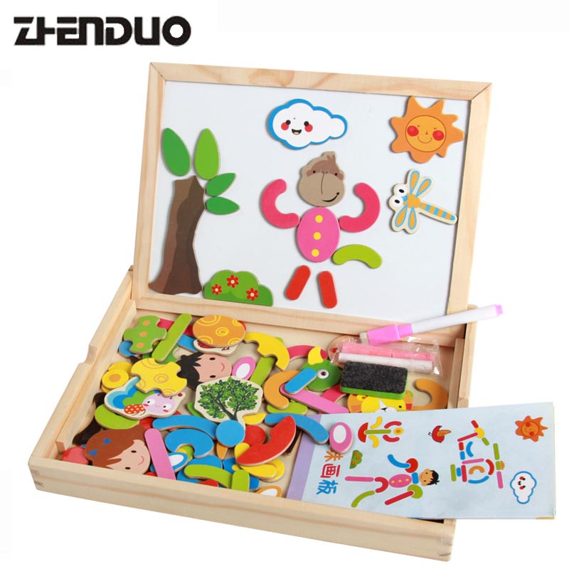 Zhenduo Childrens Wood Puzzle Multifunction Double Sided Magnetic Drawing Board Puzzle Present Gift for Kids simingyou kids toys colored wood double sided magnetic children drawing board montessori c20 q 15 drop shipping