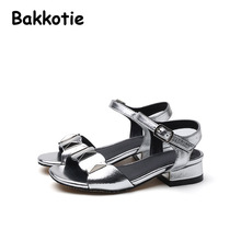 Bakkotie 2017 New Summer Children Fashion Casual Silver Baby Leisure Shoe kid Brand Girl Princess Sandals Concise Thick Heel