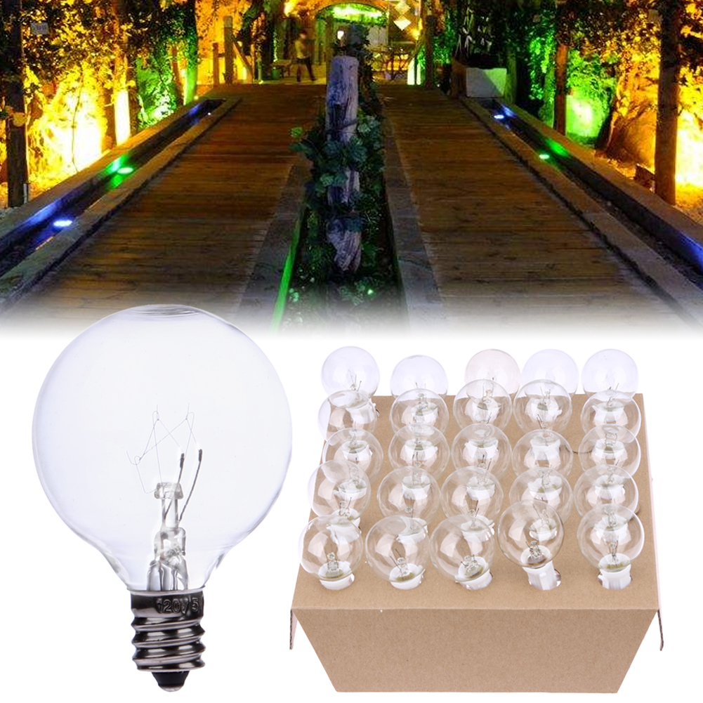 25 String Light Vintage Bulb Globe String Lights Black Cord Clear Glass Bulbs Garland Wedding Christmas Light 20pcs bulb string light