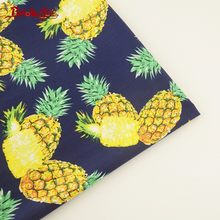 Booksew 100% Cotton Poplin Fabric Pineapple Pattern Tissue Tecido Dark Blue Sewing Home Textile For Dress Clothing Craft Shirt(China)