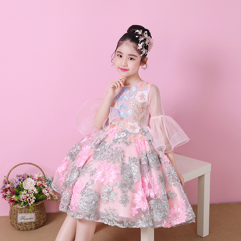 New Princess Girls Wedding Clothing Emboridery Kids Girl's Ball Gown Dress Flare Sleeve Floral Vestidos Banquet Dresses S290 цена 2017
