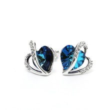Women Blue Heart Crystal Swarovski 925 Sterling Sliver Stud Earring