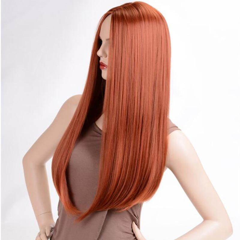 Msiwigs perucas longas retas sintéticas cor laranja