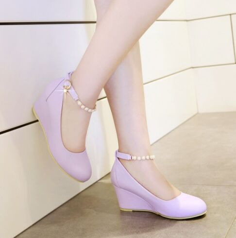ФОТО 2016 spring women's shoes fashion beaded pendant strap wedges pumps big size 42 43 sweet party shoes high heels single shoes