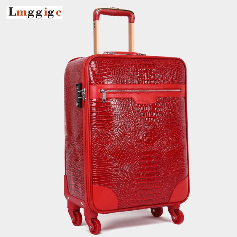 Crocodile pattern Rolling Luggage,High quality PU leather Travel Suitcase bag,New Rolling Box,Trolley Case with Wheel, Carry-On car trunk storage box folding suitcase with wheel portable new top quality travel trolley carts 3 colors daily usage