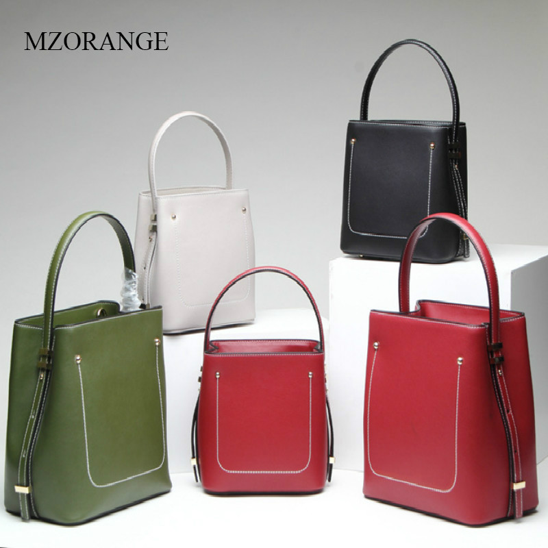 MZORANGE High-quality Genuine Leather Simple Fashion Handbag Bucket Lady Shoulder Bag New First Layer Cowhide Women's Bag mzorange 2018 new unique design women bucket bag 100% genuine leather handbag simple fashion lady tote shoulder crossbody bag