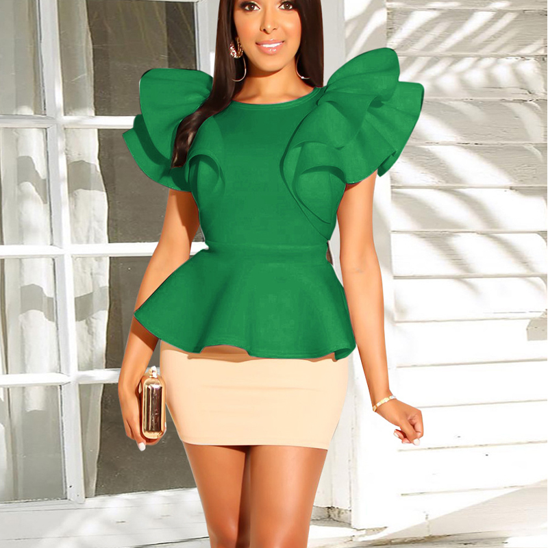 2 Piece Runway Butterfly Sleeve Irregular Top Women Summer Tops And Sexy Skirts Office Ladies Work Wear Uniforms