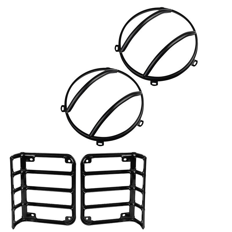 For 07-16 Jeep Wrangler JK Black Light Guards 4PCS Kit for Front Headlights Rear tail lights for jeep wrangler jk anti rust hard steel front
