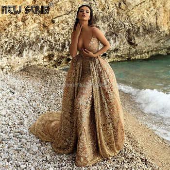 Sexy V Neck Two Pieces Evening Dresses Detachable Skirt Champagne Dubai Turkish Islamic Prom Dress Glitter Long Party Gowns 2019 - DISCOUNT ITEM  30 OFF Weddings & Events