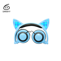 Foldable Headphone LED Flashing Luminous Glowing Light Cute Cat Ear Headset Gaming Earphones For PC Laptop