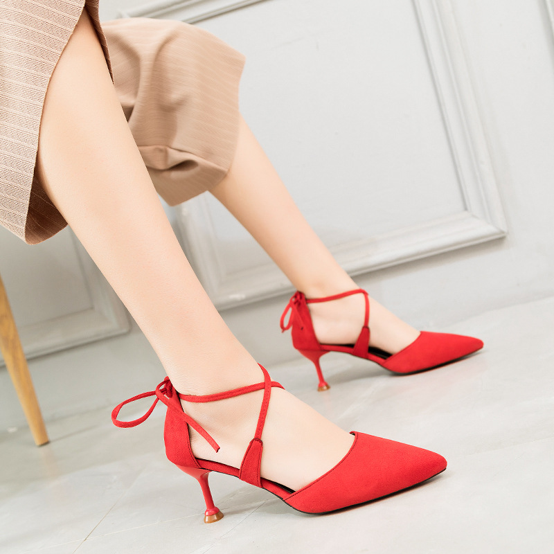 Cross strapped Ladies Sandals 2019 Spring Summer New Style Fashionable Sexy Tip up Fine heeled Back Lace High heeled Sandals in High Heels from Shoes
