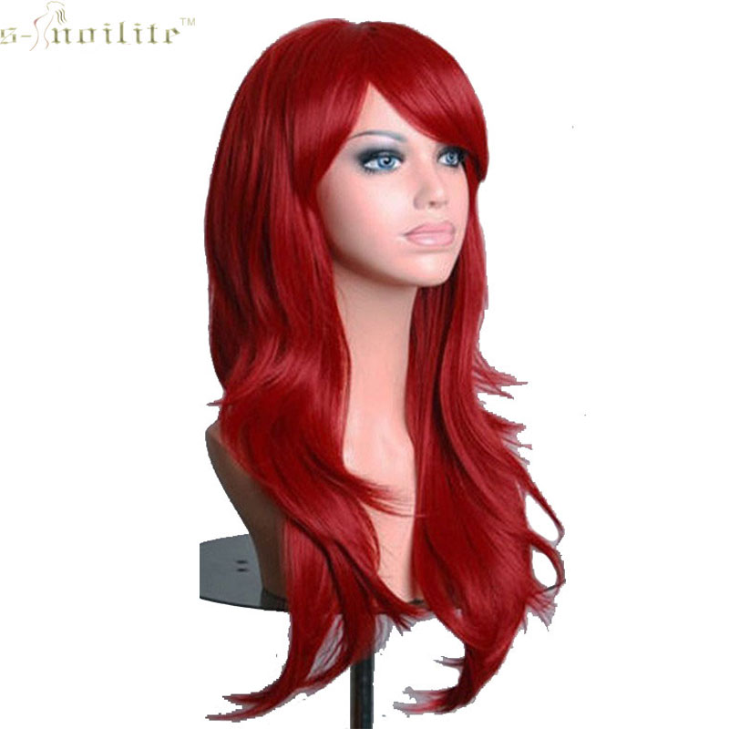 snoilite 23 inch women cosplay wig halloween long curly synthetic wigs hair wine red for human - Red Wigs For Halloween