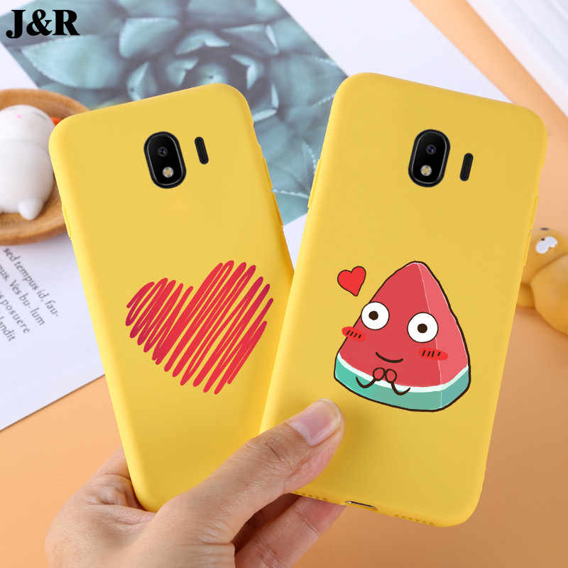 For Samsung Galaxy J4 2018 Case Soft Silicon Back Cover For Samsung J4 2018 J400F J400 Bags Protective Cases Yellow J4 Plus 2018