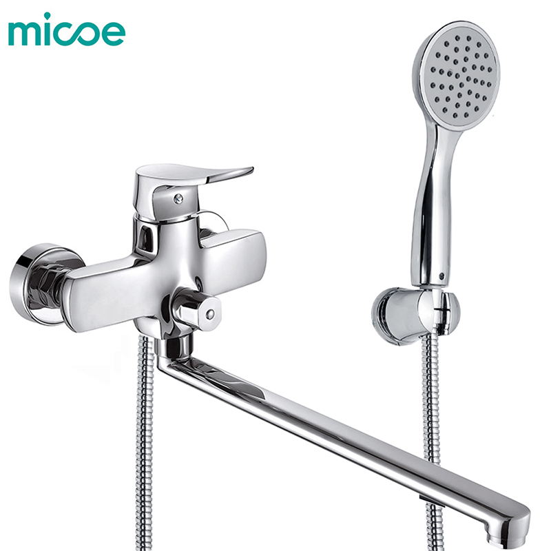 Micoe Bathroom Shower Bathtub Faucet Faucet Set Mixer Wall Mounted Waterfall Bathtub Faucet with Handheld Shower Head H-HC605