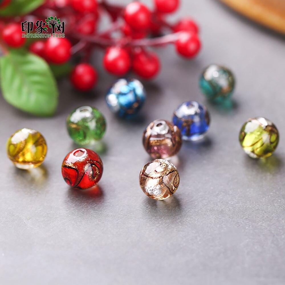 Radient 12mm 10pcs Sands Powder Handmade Lampwork Glazed Beads Transparent Japanese Crystal Round Spacer Beads Diy Jewelry Makings 1604 Beads