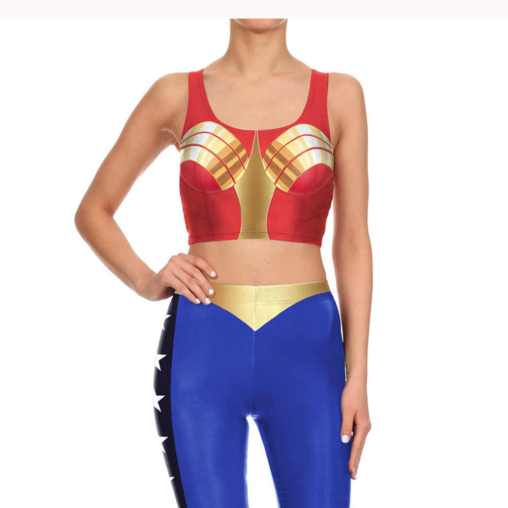 69dc61ace563b ... New Adult Superhero Wonder Woman Costume Slim Tops and Pants 3d Print  Leggings Sleeveless sexy Bodysuit ...