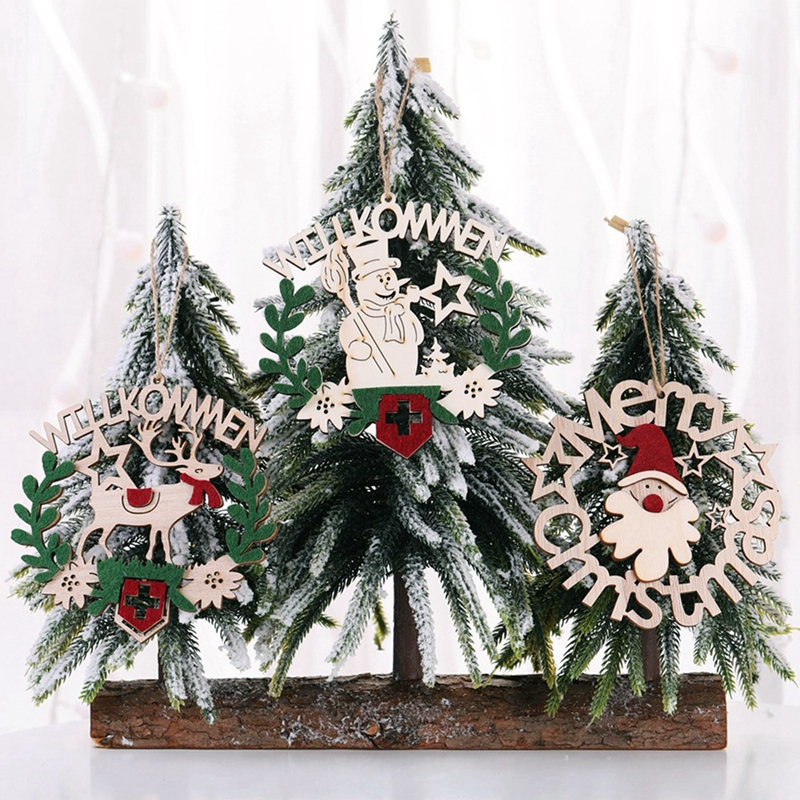Christmas Snowman Wooden Pendant Ornaments Xmas Tree Hanging Ornament 2019 Merry Christmas Decor For Home Navidad New Year 2020 in Pendant Drop Ornaments from Home Garden