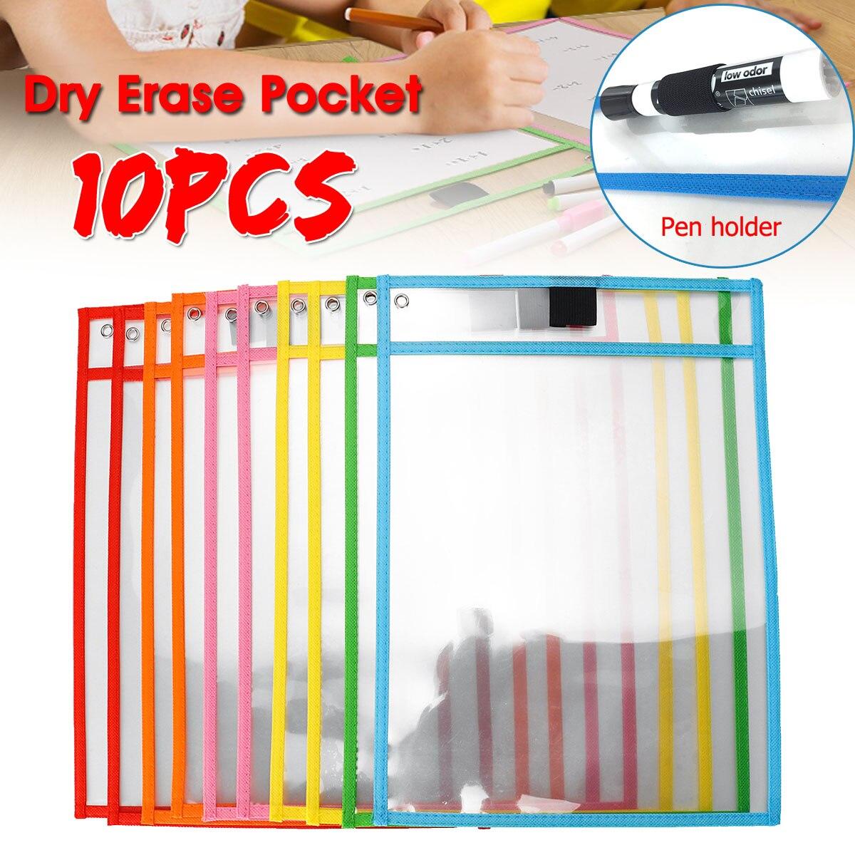 10Pcs Reusable  Pocket Write And Wipe Classroom Organization Environmental Protection Students Kids Tools School Kits