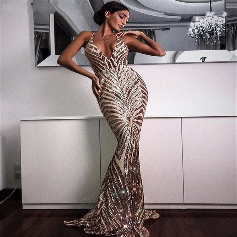 Sexy Rose Gold Sequin Backless   Prom     Dresses   Mermaid 2019 Long Spaghetti Straps Black Maxi Women Cheap Formal Evening Party   Dress