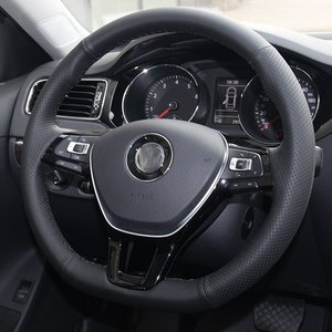 Image 4 - Shining wheat Hand stitched Black Leather Steering Wheel Cover for Volkswagen VW Golf 7 Mk7 New Polo Jetta Passat B8