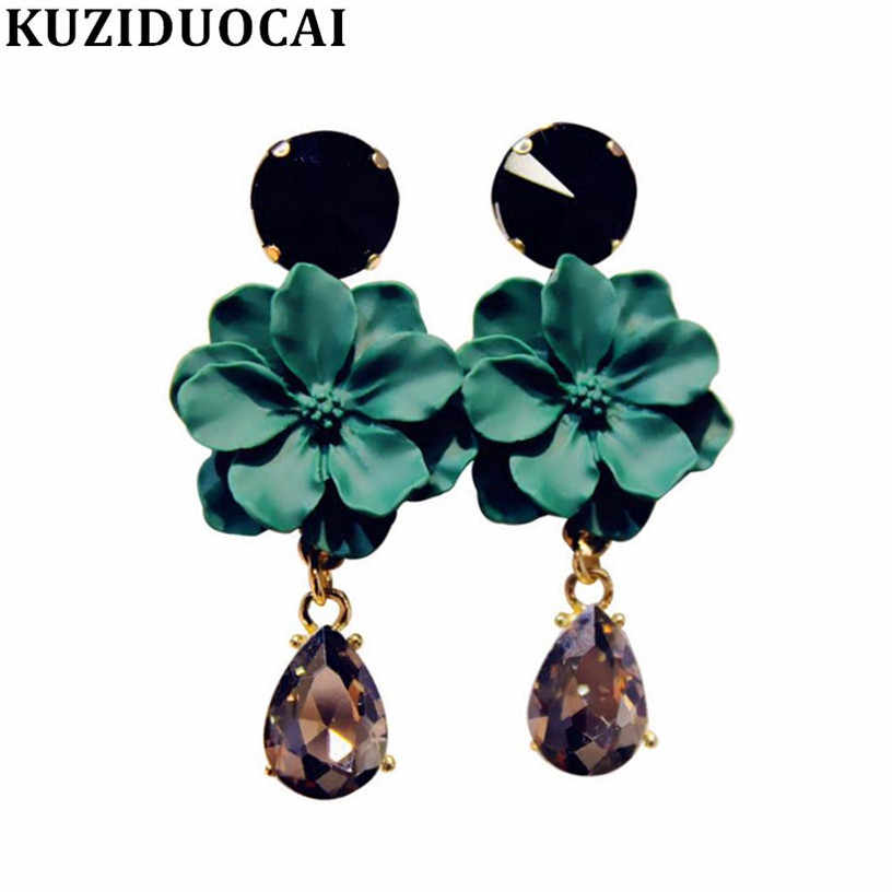 Kuziduocai New Fashion Jewelry Flowers Glass Droplet Tassel Stud Earrings For Women Gifts Statement Brincos Pendientes E-1025