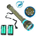 LED Diving flashlight 7 x CREE XML T6 10000LM LED Flashlight linternas Underwater 100M Waterproof Lamp Torch+4*18650 Battery