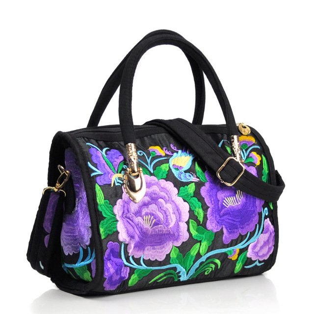Vintage Women Bag Canvas Flower Embroidered Women Handbag Boho Embroidery Mandala Shoulder Messenger Bag For Woman Girls 3