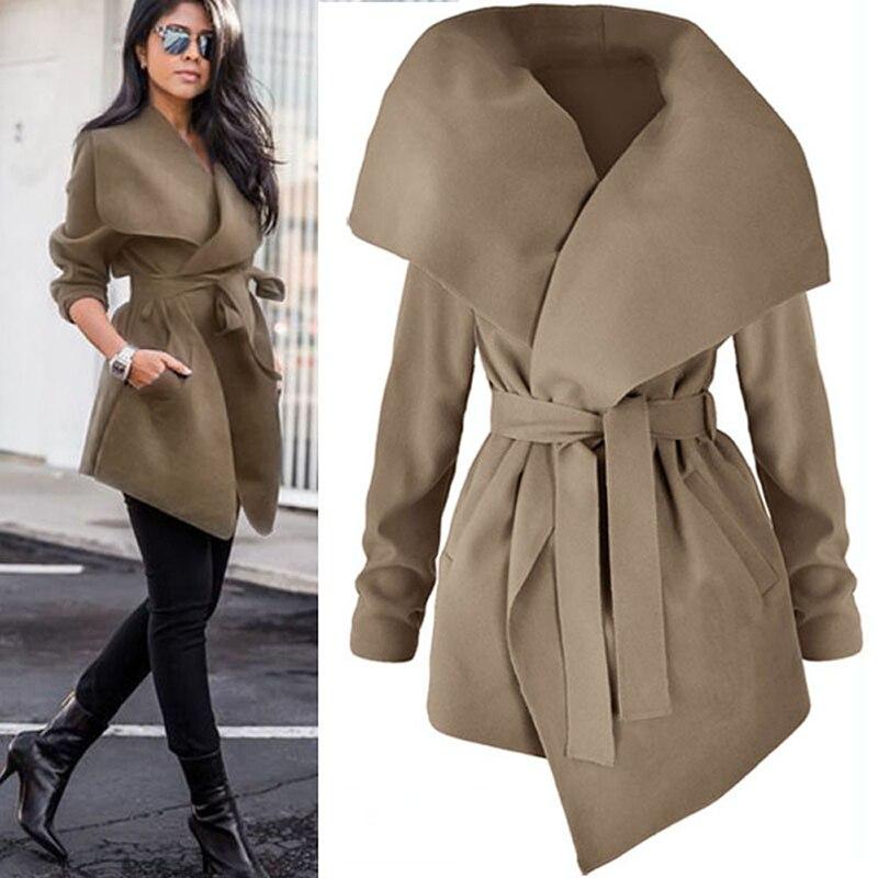 Γυναικείο κοντό κάμελ παλτό με ζώνη – Reparo 41c740be7fd