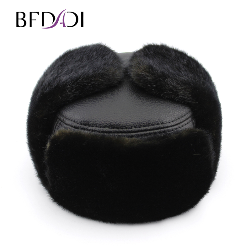 BFDADI 2018 hot luxury men's bomber hat lei feng cap warm winter ear thermal lined with cotton Free shipping free shipping