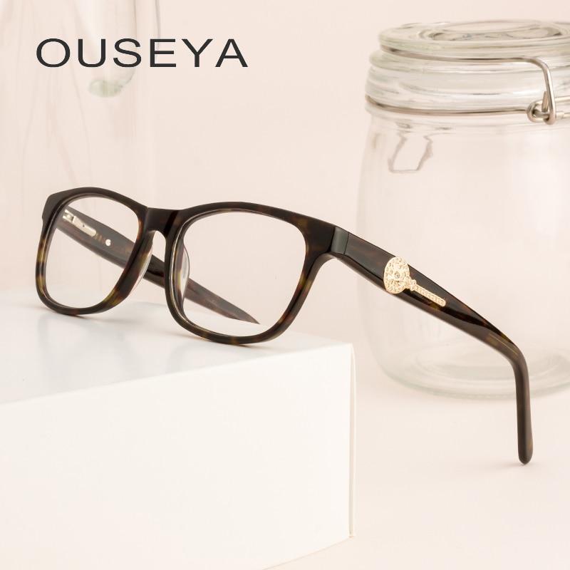 Acetat Frauen Brillen Rahmen Strass Luxus Vintage Retro Klar Noughts Null Vintage Brillen Rahmen Weibliche Für Frauen # F8902