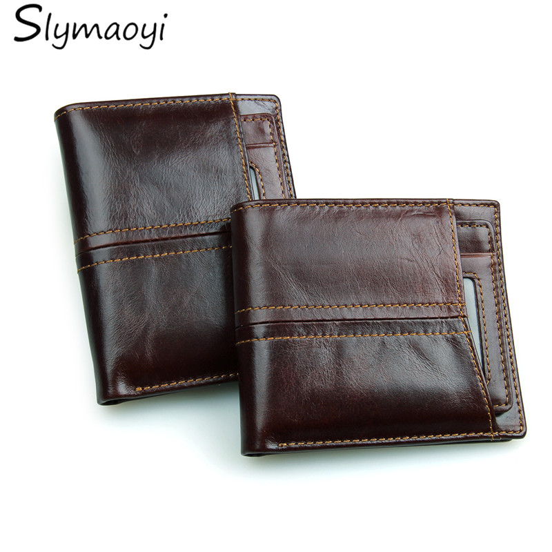 Genuine Leather Men Wallets Bifold Short Men Purse Male Clutch With Card Holder Coin Purses Wallet Brown Dollar Price men wallets dollar price bifold wallet men card holder coin purse pockets with zipper pocket wallet genuine leather men purse