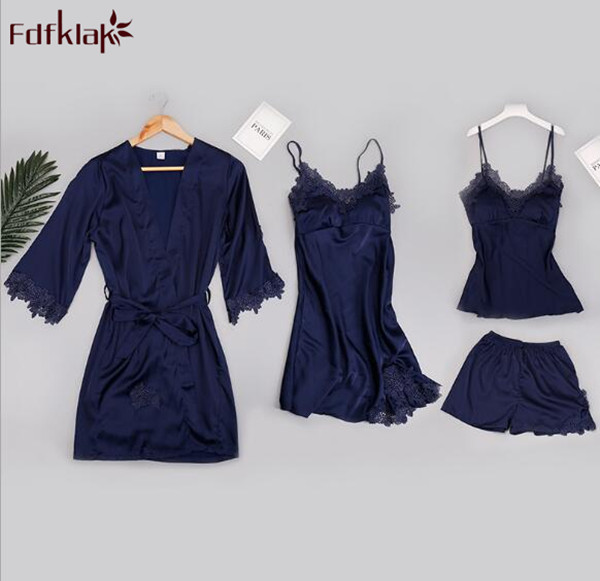 Fdfklak 4 Pieces   set   sexy women's silk   pajamas     sets   lace spring autumn dressing gowns shorts summer pyjamas women pijama mujer
