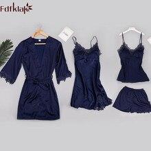 Fdfklak 4 Pieces set sexy women s silk pajamas sets lace spring autumn dressing gowns shorts